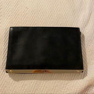 Halston Heritage Flat Leather Black Clutch Bag